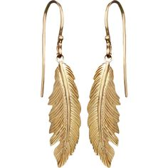 Yellow Gold Feather Earrings (1,265 CAD) ❤ liked on Polyvore featuring jewelry, earrings, feather jewelry, gold earrings, gold earring set, 14k gold jewelry and gold hook earrings