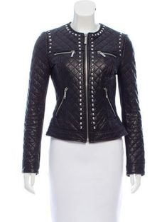 Women Studded Leather Jacket Quilted Spiked Silver Color Real Leather Black Leather Quilted Jacket Studded Jacket made with 100 % Genuine Top Quality Cowhide Leather Black Gunmetal Studded High Quality Studs. Each securely added by hand Womens Black Leather Jacket, Studded Leather Jacket, Leather Jackets, Real Leather, Biker Jackets, Biker Leather, Women's Jackets, Cow Leather, Quilted Leather