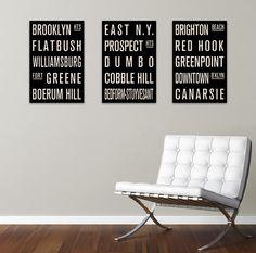 Brooklyn Neighborhoods COLLECTION of 3 Subway by FlyingJunction, $49.00