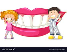 Boy and girl with clean teeth Royalty Free Vector Image Kids Dentist, Dental Kids, Dental Art, Body Preschool, Preschool Classroom, Preschool Worksheets, Dental Posters, School Clipart, Child Smile