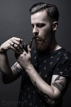 "Geoffrey II - French beard with smoking pipe.  ● French Beard Oil ""Ca va barber !"" (https://www.facebook.com/cavabarber)"
