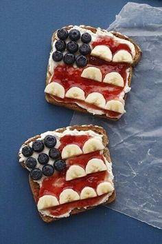 American Flag Toasts   Toast, Cottage Cheese, Strawberry Jam, Blueberries, Banana Slices