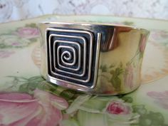 Vintage Sterling Silver Cuff Bracelet 925 Mexico Abstract Modernist Square by Holliezhobbiez on Etsy