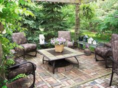 Comfy Brick Patio home garden brick decorate patio home ideas outdoor fireplace outdoor furniture outdoor sitting areas
