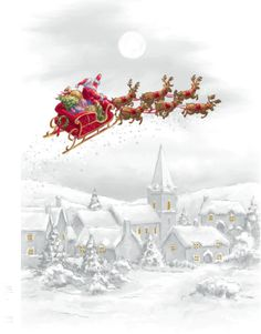 santa waving in the sky on his sleigh