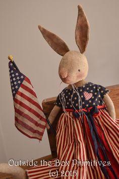 primitive bunny rabbit americana by robin seeber