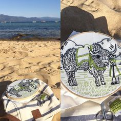 Thank you @islacorbett for this lovely kit from #studiomme. Stitching this simple design has brought me moments of crafty joy during a sometimes tough summer. Here's a happy work in progress moment on a late afternoon at #laketahoe. #embroidery #speedboatbeach #summerstitching