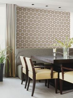 A+warm+gray+color+palette+lends+a+contemporary+feel+to+the+vintage-inspired+circle+pattern.+Try+this+wallpaper+on+an+accent+wall+to+create+a+subtle+focal+point.+Image+courtesy+of+HGTV+HOME+by+Sherwin-Williams