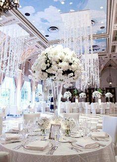 Wedding table centrepieces - big bouquet and then smaller bouquets. Wedding Receptions, Wedding Reception Decorations, Wedding Themes, Wedding Centerpieces, Wedding Designs, Wedding Table, Wedding Ideas, Decor Wedding, Diamond Wedding Theme