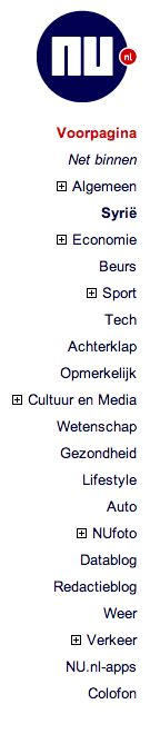 Goede navigatie omdat het nieuws in verschillende categorieën is geordend.
