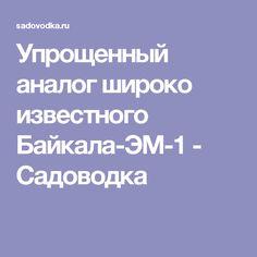 Упрощенный аналог широко известного Байкала-ЭМ-1 - Садоводка