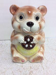Vintage Ceramic Brown Bear Cookie Jar GG Japan  | eBay