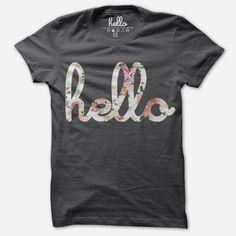 Hello Floral (Adult) Asphalt Poly-Cotton T-Shirt