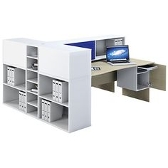 Modern cluster desk with accessories. Available at Zippy Office Furniture. Boardroom Furniture, Used Office Furniture, New Furniture, Office Cubicle, Office Desk, Reception Counter, Office Storage, Office Accessories, Desks