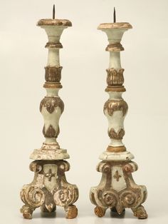 Wonderful pair of century Italian altar candlesticks or prickets with original putty green paint and polychrome highlights. They are in untouched original condition and finished on all four sides --a rare find. Altar, Art Deco Furniture, Furniture Design, Antique Furniture, Painted Furniture, Modern Furniture, Light In, Lamp Light, Shabby Chic Frames