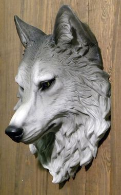 Giant Sculpted Wolf Head Wall Mount