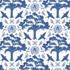 Hawthorne Threads - Meadowlark - Meadowlark Damask in Blue Jay