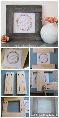 DIY. How to build a picture frame from scrap wood and stain it. 10 FREE spring and Easter printables!