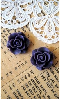 Lot de 2 Roses 16 mm couleur violet pour bijoux et scrapbooking