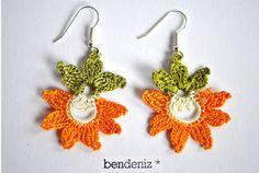 Ohrhänger *OYA bloom orange*, gehäkelt von bendeniz auf DaWanda.com
