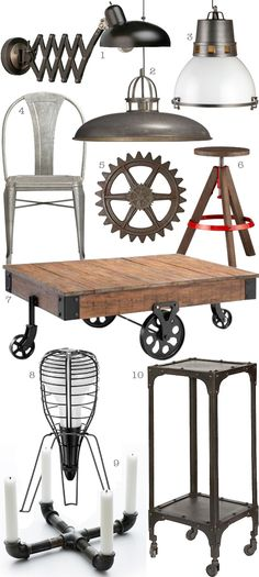 Industrial chic style items. ( 1 ) Scissor Arm Pharmacy Lamp  ( 2 ) Victory Pendant Lamp  ( 3 ) District Pendant Lamp  ( 4 ) Lyle Side Chair  ( 5 ) Industrial Gear  ( 6 ) Rig Barstool  ( 7 ) Industrial Maison Coffee Table  ( 8 ) Foscarini Cage Rocket Table Lamp ( 9 ) Pipe candle holder  ( 10 ) Industrial Telephone Table