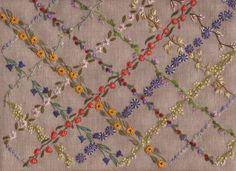 Lucy's garlands - stem stitch, french knot, lazy daisy, back stitch, blanket stitch, bullion, fly, straight stitch, leaf stitch, cast on spider web stitch and cretan stitch.