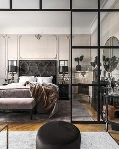 Bedroom with Crittal style internal doors - - Bedroom with. - Bedroom with Crittal style internal doors - - Bedroom with Crittal style internal doors - Scandinavian Interior, Home Interior, Interior Architecture, Interior Design, Edgy Bedroom, Home Decor Bedroom, Internal Doors, Home And Deco, Luxurious Bedrooms