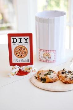 DIY Pizza Station - adorable idea for a pizza party or any slumber party!