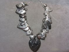 Vintage Antique Sterling Silver 21 Repousè Puffed Heart Charm Necklace #CharmNecklace