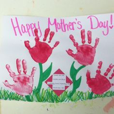 Mothers Day craft, hands make roses - poem: Roses are red, Violets are blue, nobody loves Mommy as much as I do!