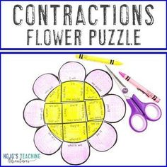 CONTRACTIONS Flower Puzzle | Spring Activities or Games for ELA & Literacy | 2nd, 3rd, 4th grade, Activities, English Language Arts, Games, Grammar, Homeschool, Literacy Center Ideas, Spring Spring Activities, Literacy Activities, Literacy Centers, 5th Grade Classroom, Special Education Classroom, Reading Recovery, 21st Century Skills, Reading Centers, Critical Thinking Skills