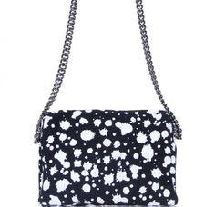 3c4be58700b8 Black And White Tweed Paint Splatter Cross Body Bag Paint Splatter, Chanel  Black, Tweed