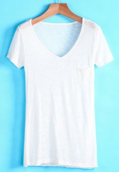 White V Neck Short Sleeve Pocket T-Shirt 9.90