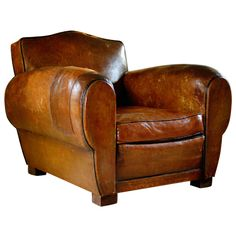 Pair of French Art Deco Vintage Leather Club Chairs
