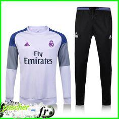 f3233f026b2 Nouveaux Survetement de foot Real Madrid Blanc + Pantalon Noir 2017