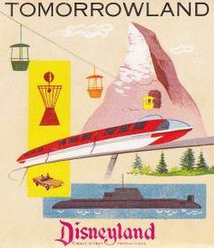 Disneyland Tomorrowland Postcard Folder from Retro Disney, Old Disney, Disney Love, Disney Magic, Punk Disney, Poster Disney, Vintage Disney Posters, Vintage Disneyland, Disneyland California