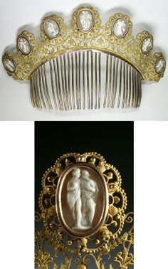 Empire cameo haircomb, ca. 1820,  Width : 8 1/8 inch, Height : 4 3/4 inch, Depth : 3/8 inch, Superb chased gilt brass heading decorated with seven paste glass cameos featuring Antique characters. French or English? (French cameos used to be rather portraits, but no hallmark comes to give any confirmation).