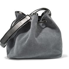 MM6 Maison Margiela - Metallic Leather-trimmed Nubuck Shoulder Bag (£175) ❤ liked on Polyvore featuring bags, handbags, shoulder bags, grey, shoulder handbags, zip shoulder bag, top handle handbags, drawstring shoulder bag and gray purse