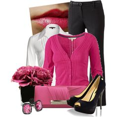"""Fuchsia and Black"" by lisamoran on Polyvore"