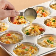 Individual Chicken Pot Pies just replace the Bisquick with your own mixture.