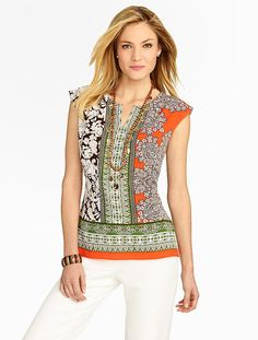 Talbots - Paisley & Art-Deco Stripes Blouse | Blouses |