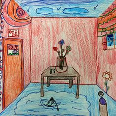The Helpful Art Teacher: Draw a Surrealistic Room in One Point Perspective.good images for a ppt One Point Perspective Room, Perspective Drawing Lessons, Perspective Art, Art Education Projects, Art Projects, 2nd Grade Art, Middle School Art, High School, Math Art