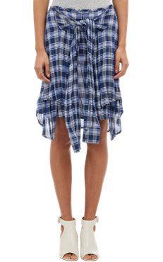 Layered Tied-Shirt Skirt