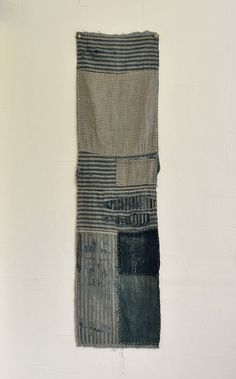 Antique Japanese Mingei Boro Folk Indigo Dyed Textiles Kakejiku Style