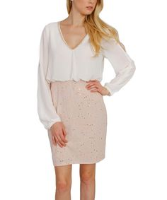 Look at this Soiéblu Ivory & Champagne Embellished Blouson Dress on #zulily today!