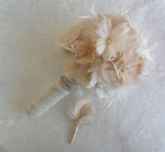 Feather Wedding Bouquet Bridal Bouquet Vintage by DarlasBlooms