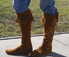 Vintage Moccassins Boots Leather by TammyKempKreations on Etsy, $100.00