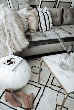 Click to shop | Family room update | Vega Moroccan Rug | Marble coffee table (similar) | White Leather Pouf Ottoman (on sale!) | Textured Indra Pillow | Glass Vase | Blush Cotton Luster Velvet Pillow | | Marisa Throw Blanket | Pompom Pillow | Overarching Lamp #homeinspiration #apartmentdevor #modernhome #scandinavianinterior