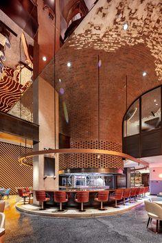 Restaurant Designs: Atmosfire Barbeque Pit, Dubai - Love That Design Grill Restaurant, Restaurant Concept, Caribbean Restaurant, Brick Interior, Interior Architecture, Dubai, Persian Restaurant, Bar Design, Grill Design