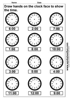 Time – Draw hands on the clock face – 4 Worksheets / FREE Printable Worksheets